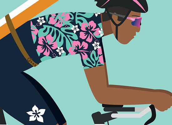 Vamos a la playa – Flat Design Cyclist