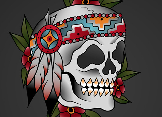 Indian Skull – Old School Tattoo Style